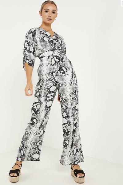 Grey Snake Print Palazzo Jumpsuit